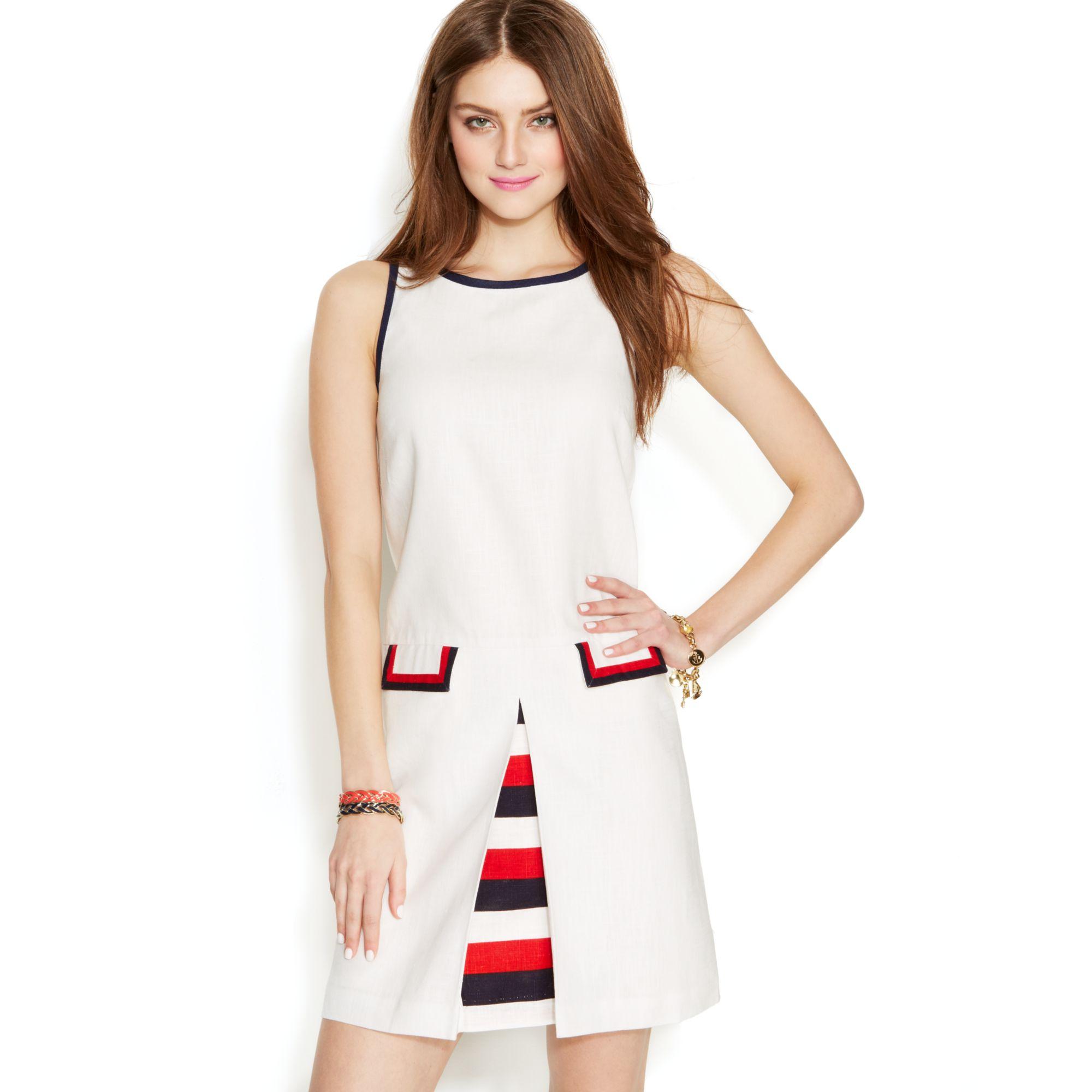 a3110735bad Tommy Hilfiger Zooey Deschanel For Invertedpleat Shift Dress in Red ...