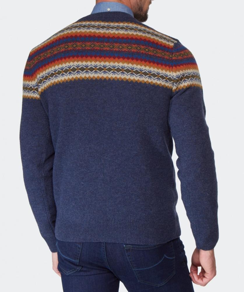 Gant Fair Isle Crew Neck Sweater in Blue for Men   Lyst