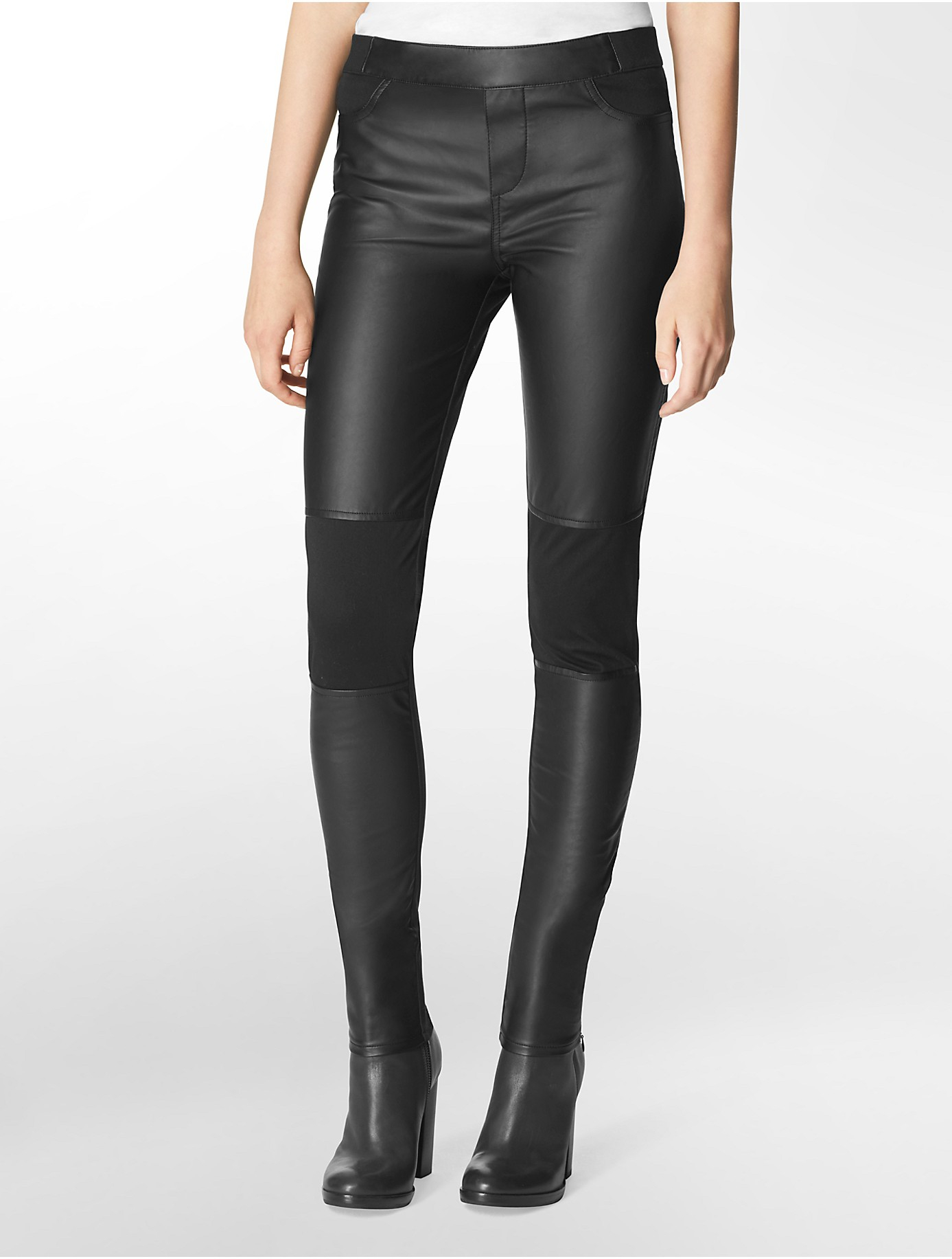 Calvin klein Faux Leather Moto Leggings in Black | Lyst