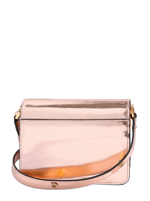 Marni Mini Trunk Metallic Leather Shoulder Bag in Pink | Lyst