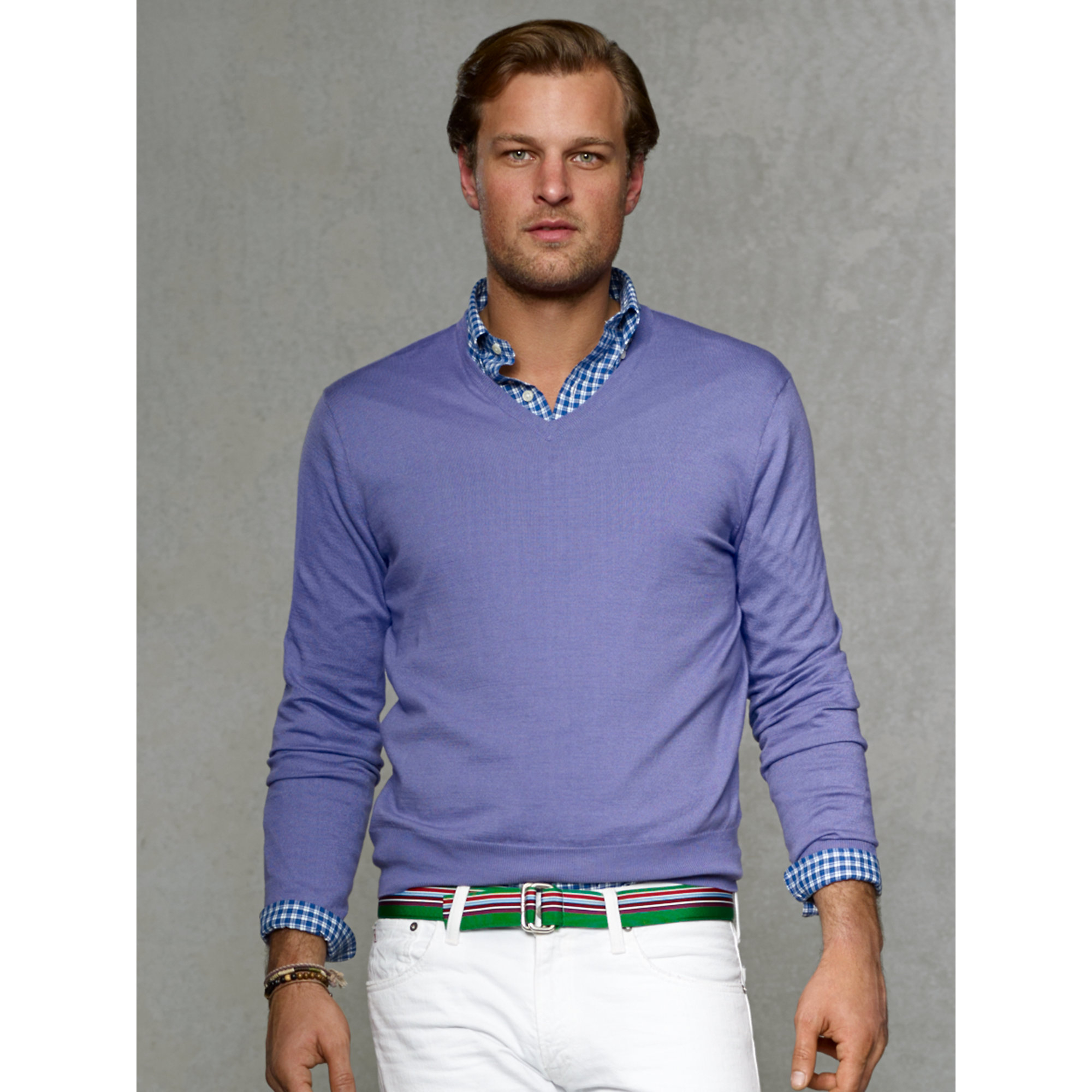 Polo ralph lauren Cashmere-Cotton V-Neck Sweater in Purple for Men ...