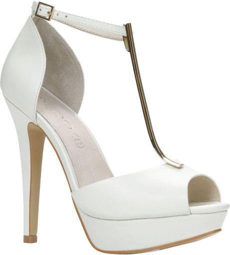 aldo valturva peep toe platform shoes in white lyst
