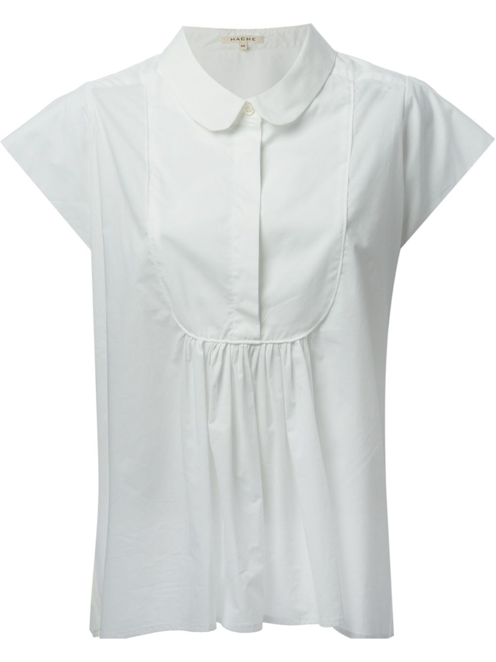 Hache peter pan collar shirt in white lyst for White cotton shirt peter pan collar