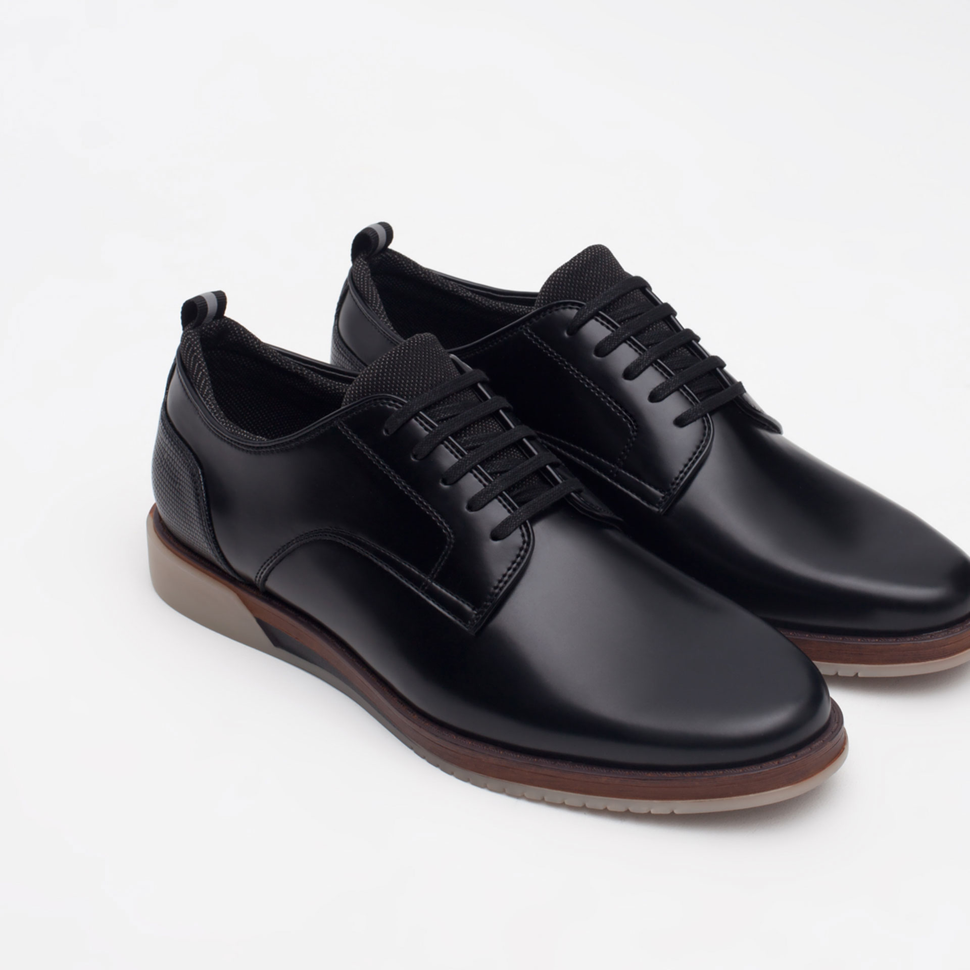 zara casual shoes with contrast sole in black for lyst