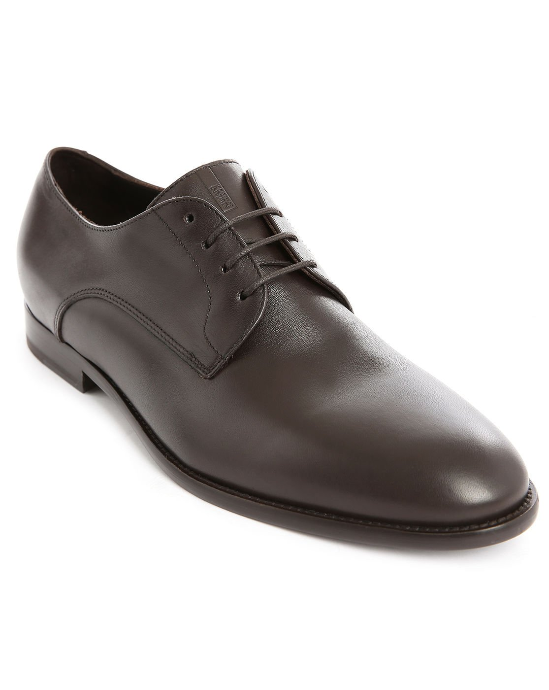 armani brown leather derby shoes with stitched soles in
