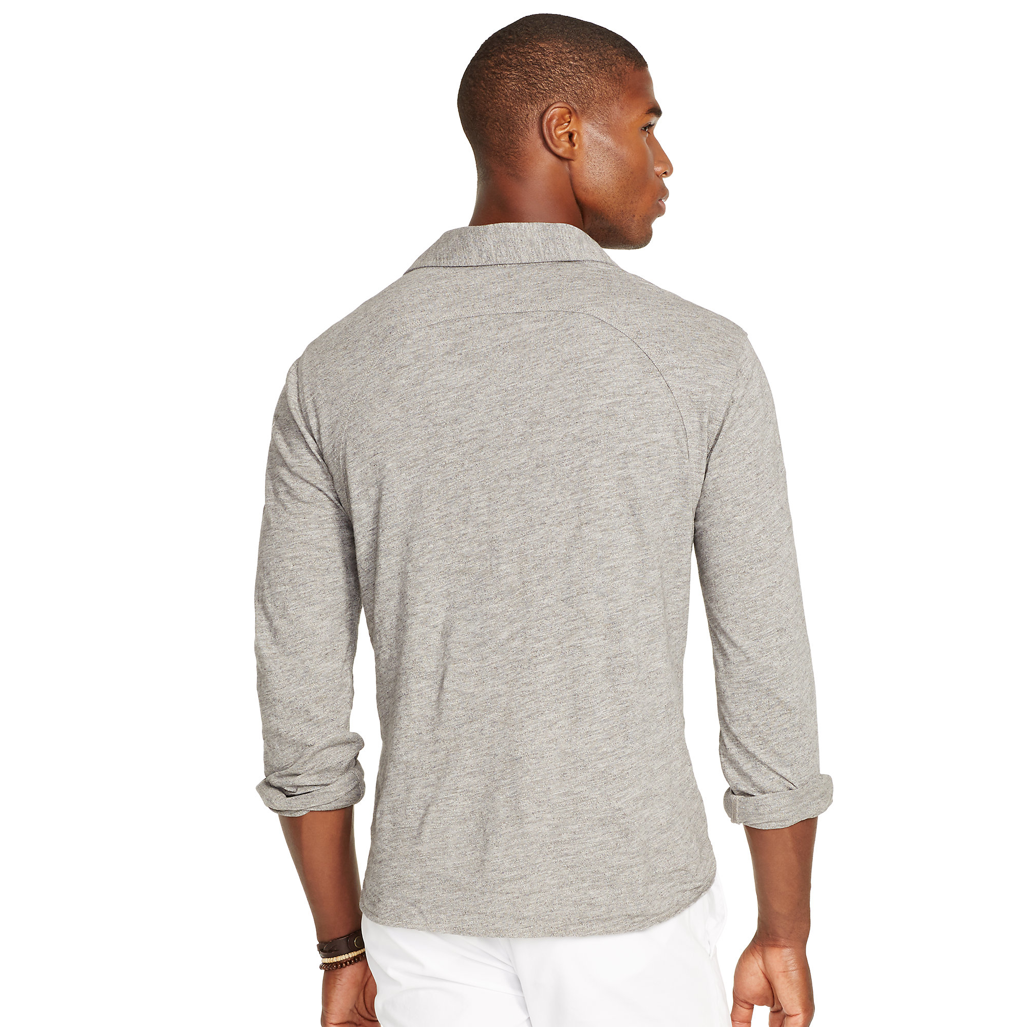 polo ralph lauren cotton jersey pullover shirt in gray for. Black Bedroom Furniture Sets. Home Design Ideas