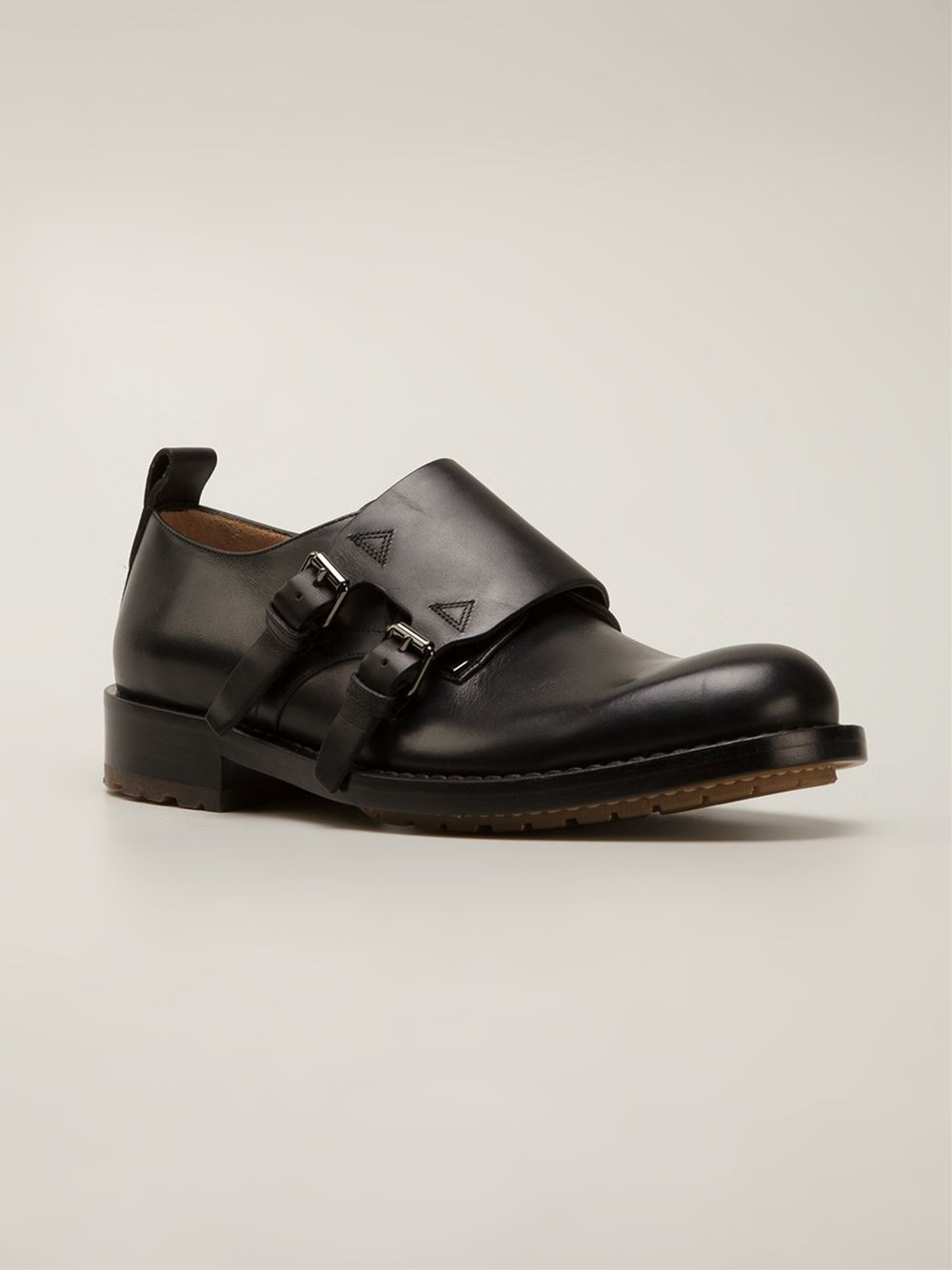 valentino black rockstud monk shoes for lyst