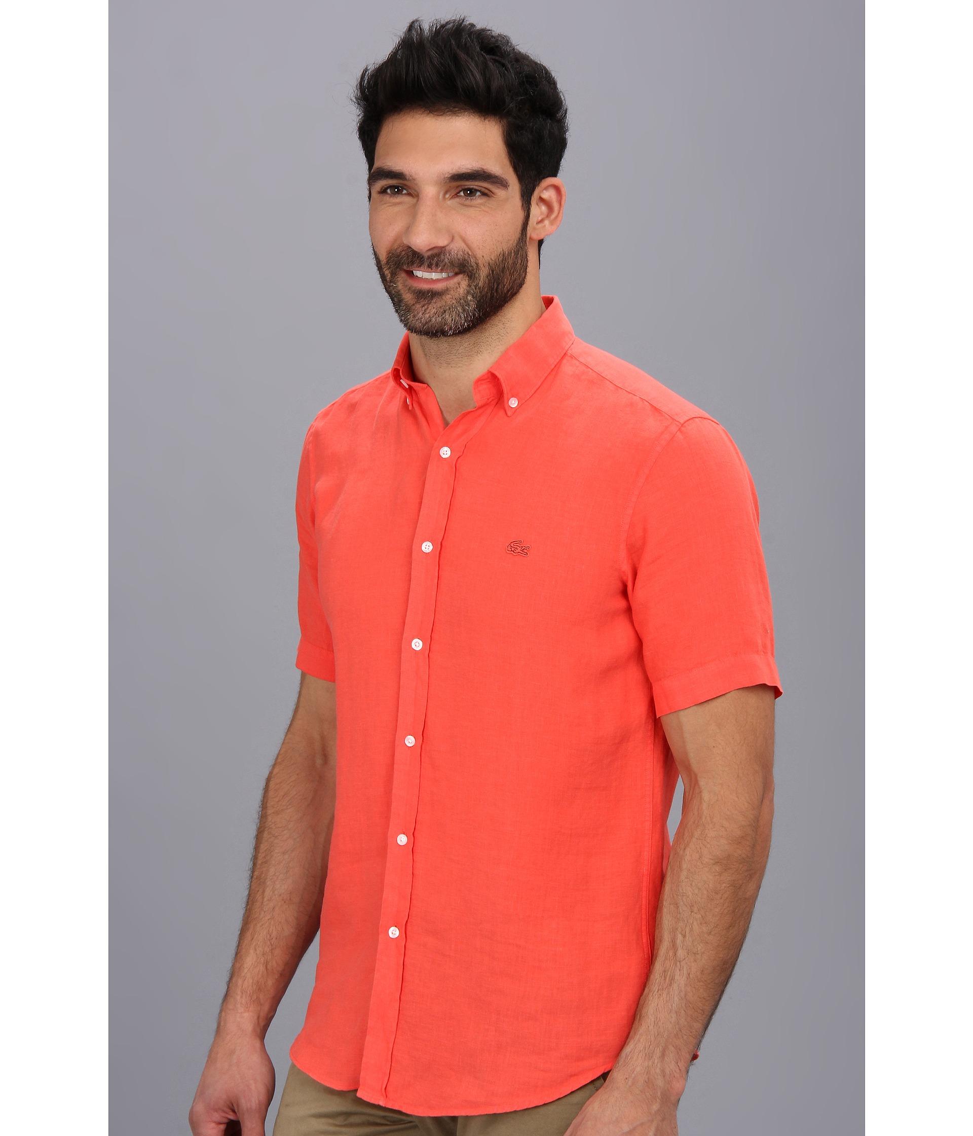 de13d9067 Lyst - Lacoste Short Sleeve Button Down Linen Woven Shirt in Red for Men