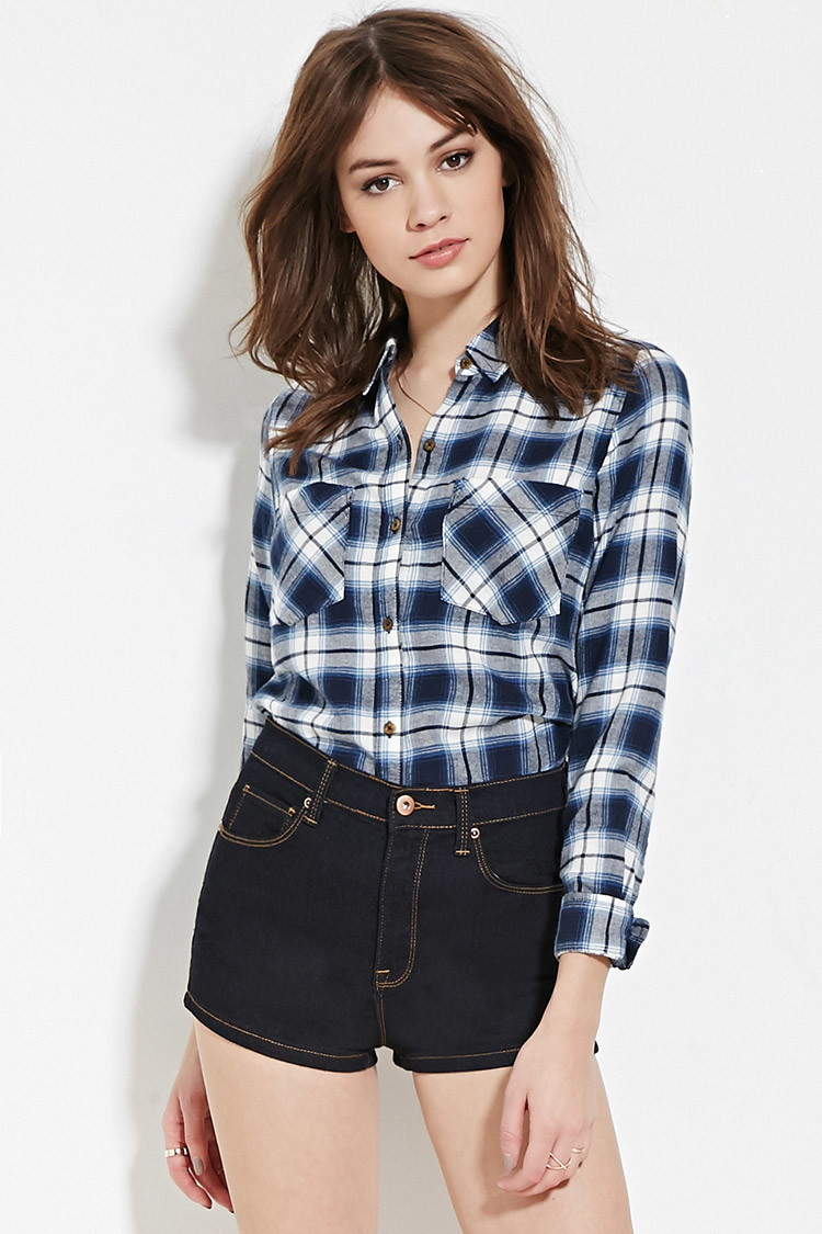 Forever 21 Plaid Flannel Shirt In Blue Lyst