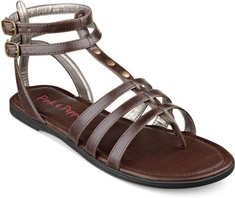Pink And Pepper Coazter Flat Gladiator Sandals In Brown Lyst