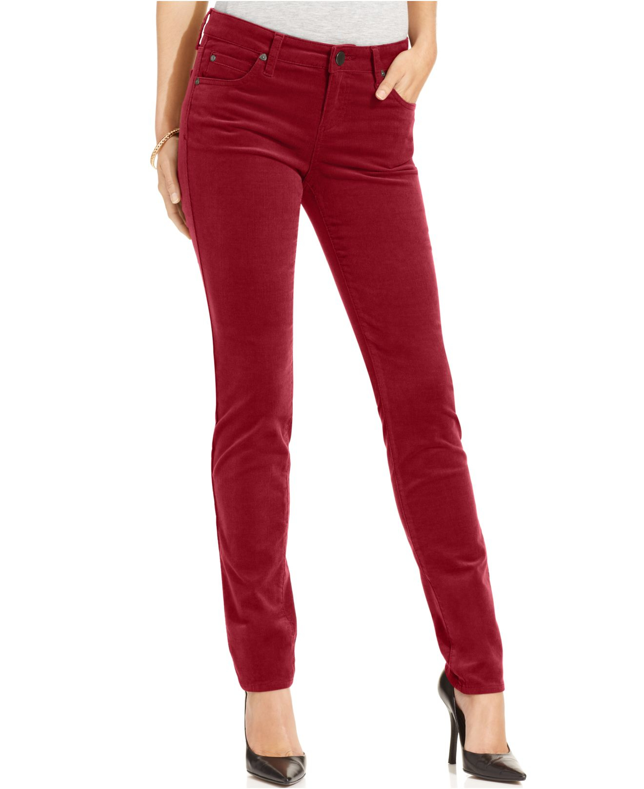 Kut from the kloth Diana Skinny Corduroy Pants in Red | Lyst