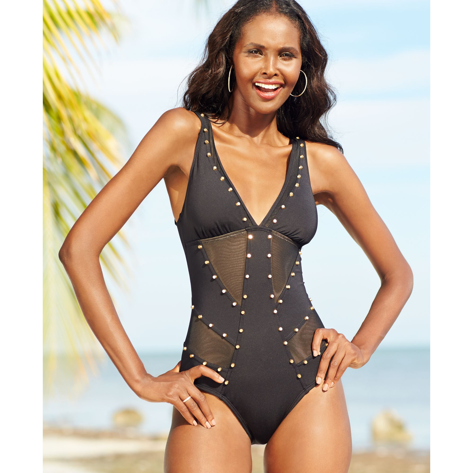 f17447ca00962 Kenneth Cole Studded Mesh Cutout Onepiece Swimsuit in Black - Lyst