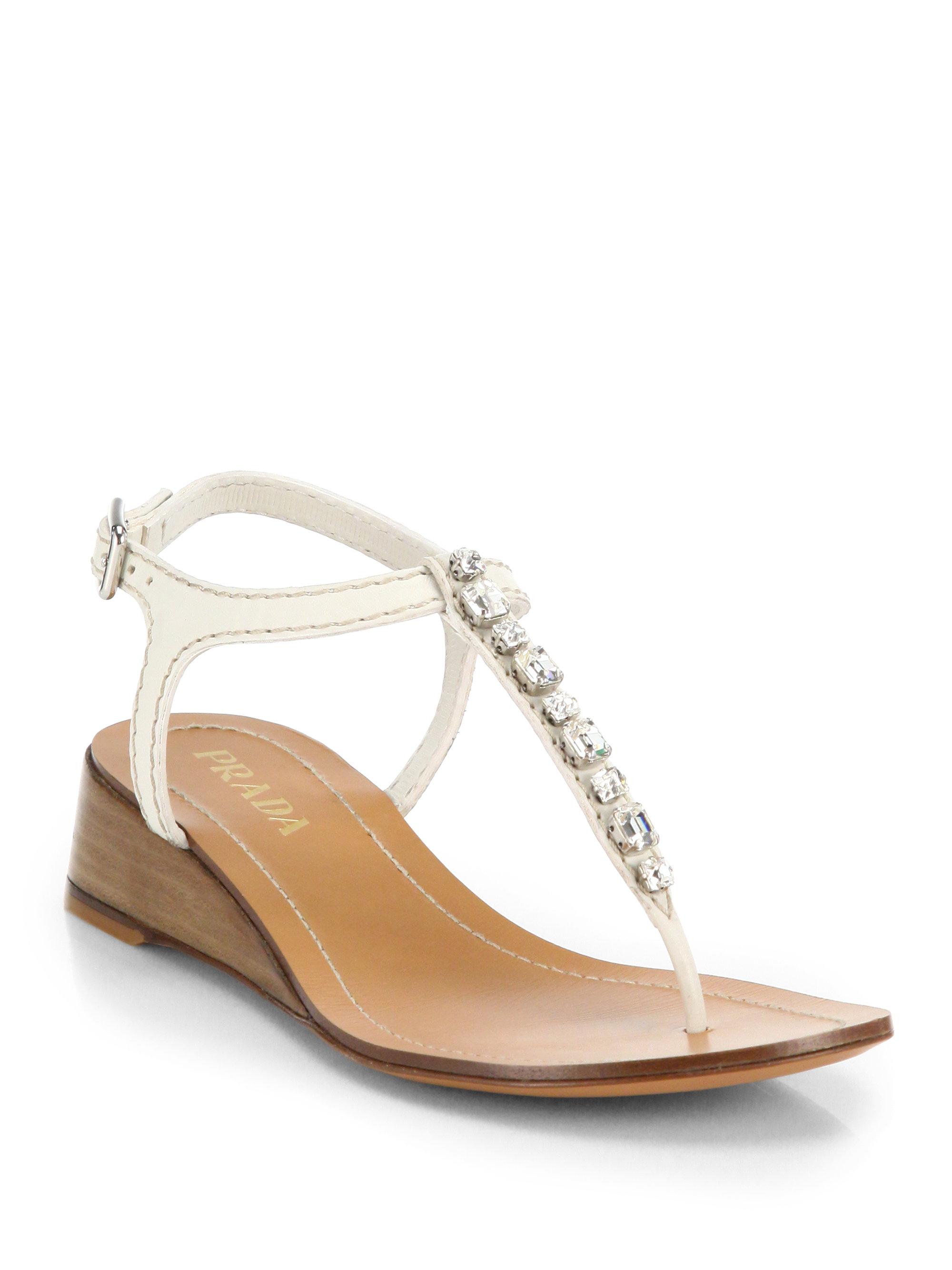 Prada Swarovski Crystal Leather Wedge Thong Sandals in ...