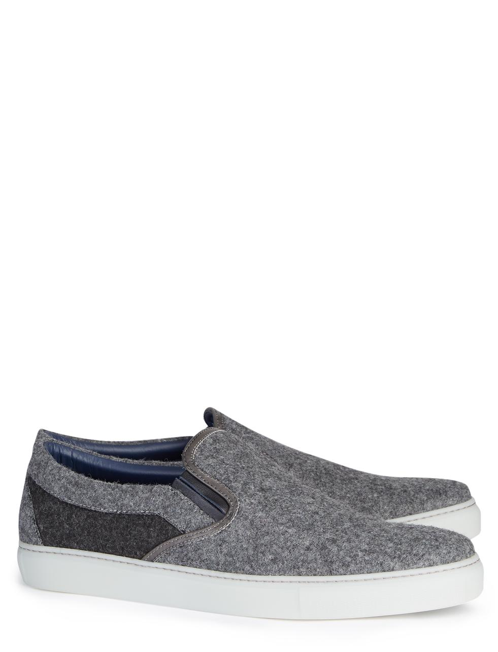 joseph flannel slip on shoe in gray for lyst