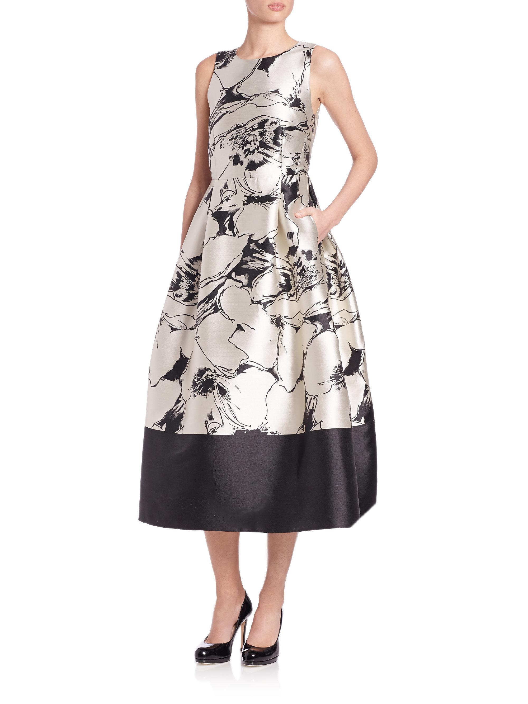 Lyst L K Bennett Sage Flared Metallic Print Dress In Natural