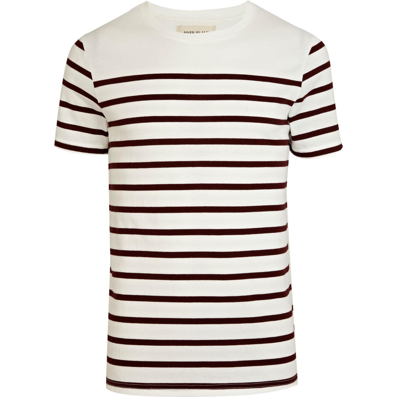 River island red horizontal stripe tshirt in white for men for Horizontal striped dress shirts men