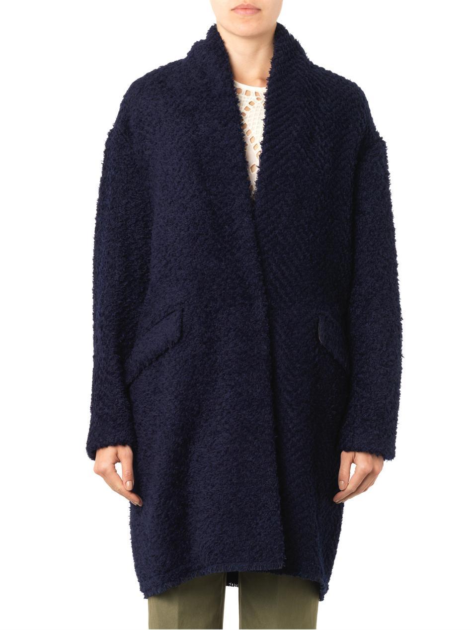 Isabel marant Gabriel Herringbone-Textured Coat in Blue | Lyst