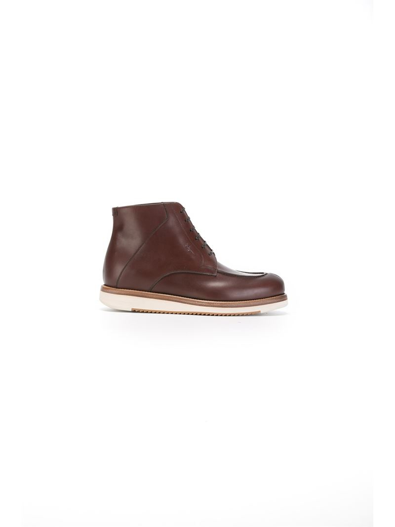 ferragamo lace up boots in brown for lyst