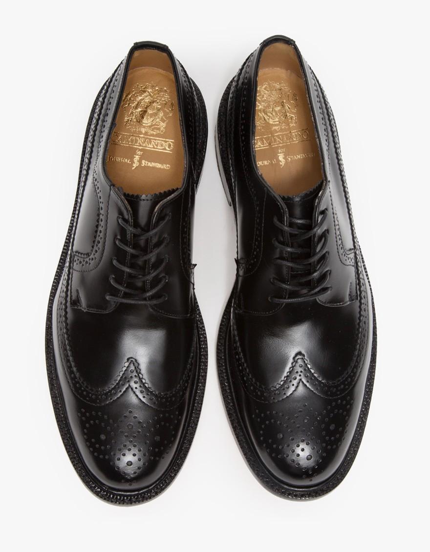 caminando wingtip blucher in black for lyst