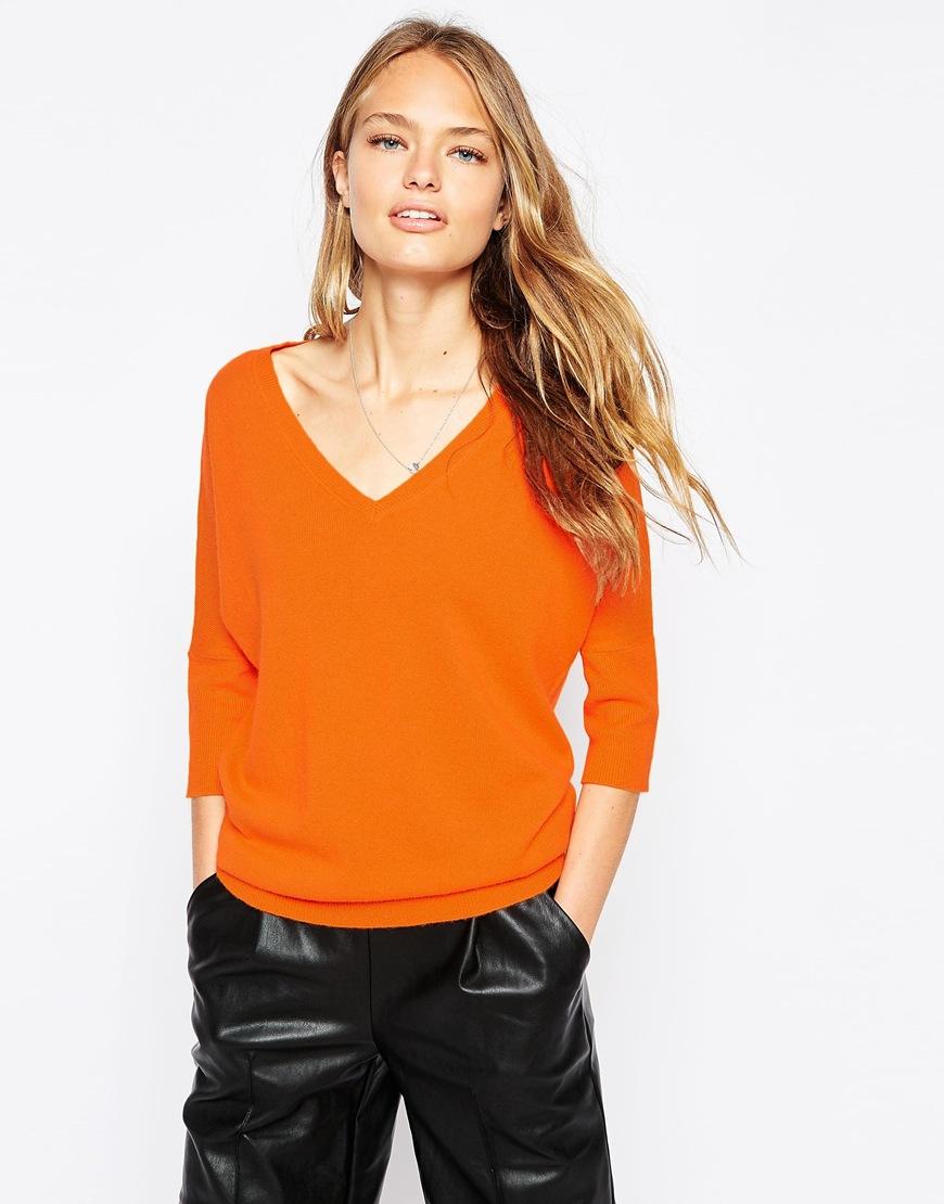 Ganni V Neck Cashmere Sweater in Orange | Lyst
