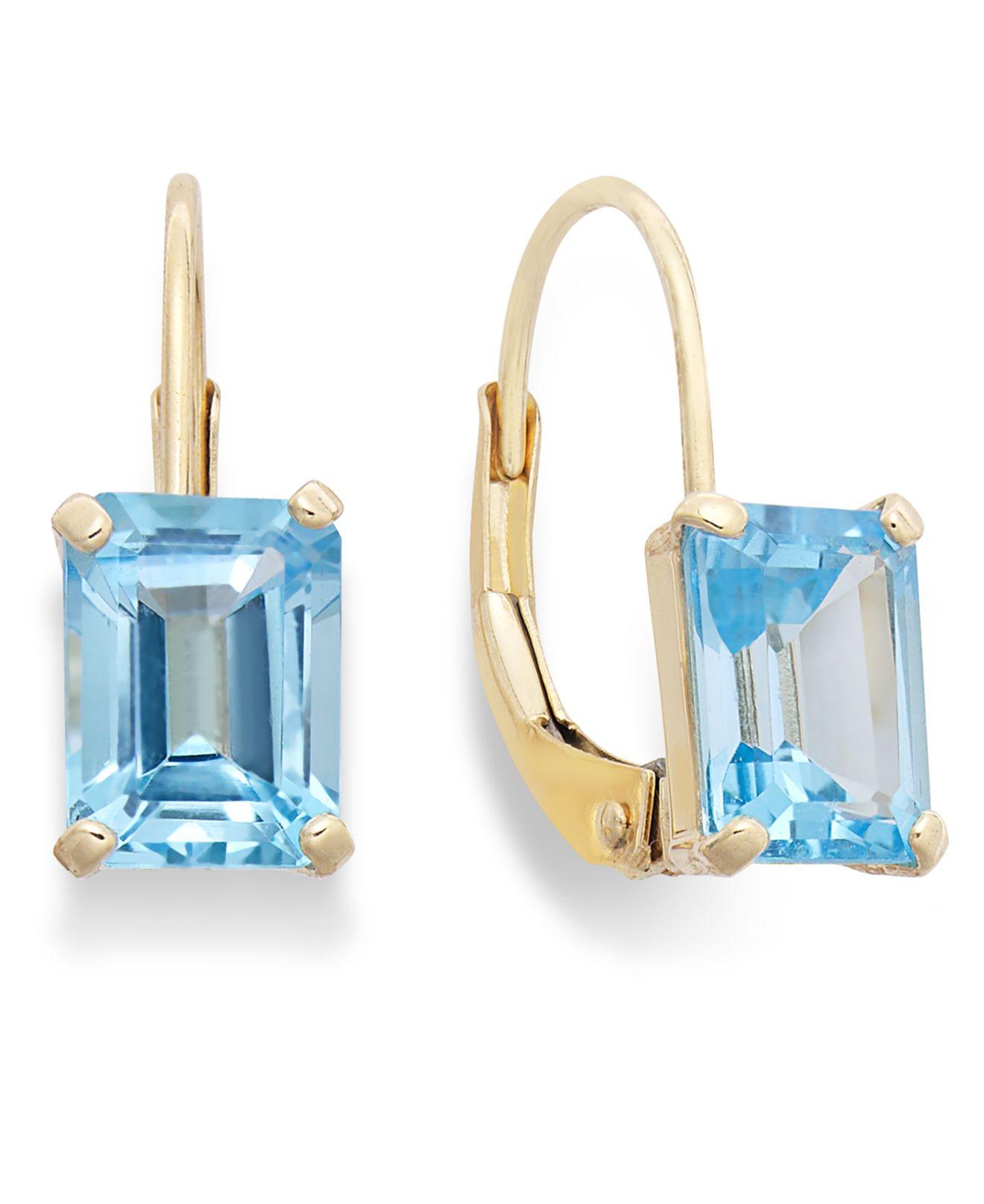 Macy s 10k Gold Earrings Emerald cut Blue Topaz Leverback