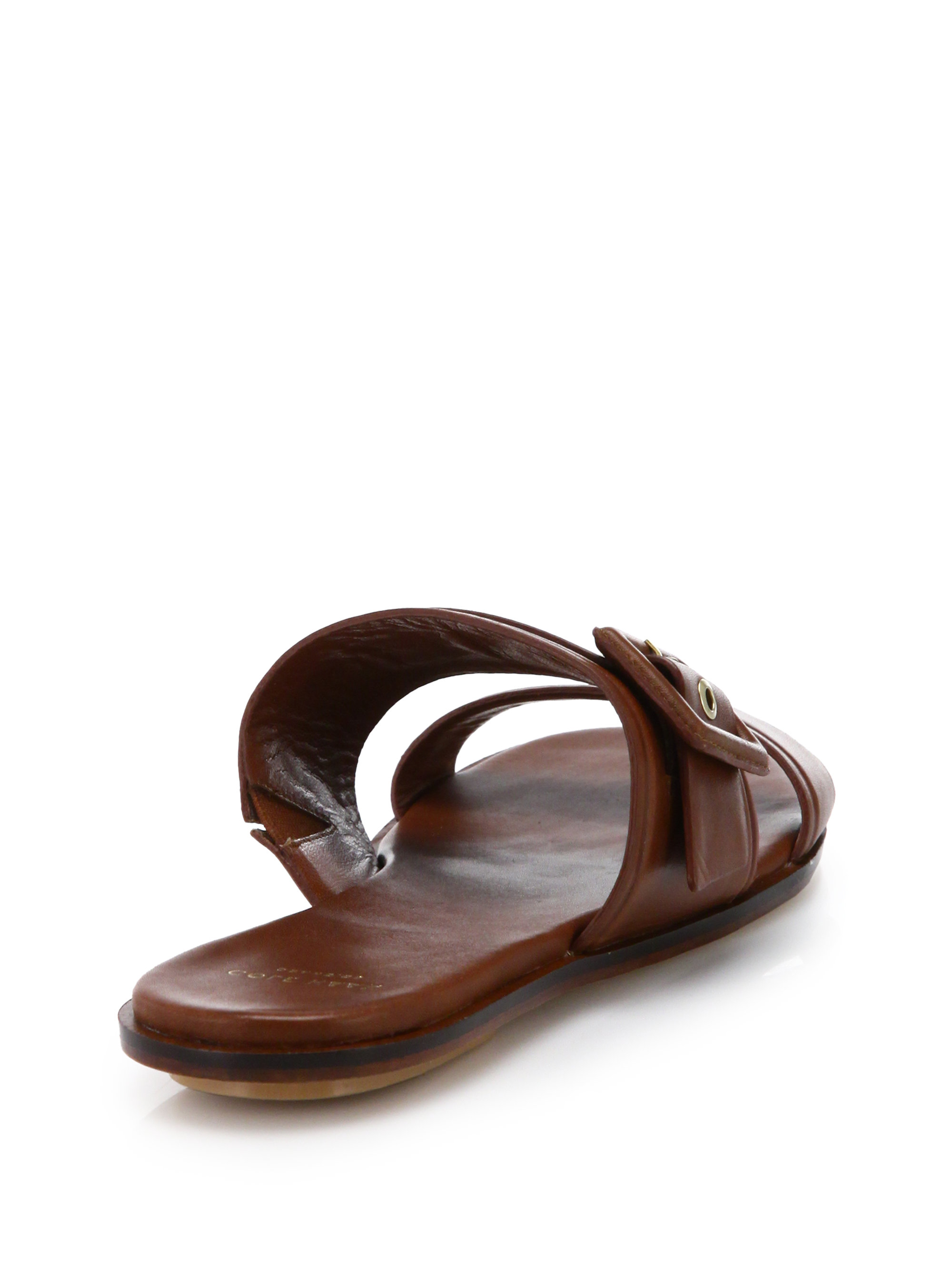 Cole Haan Amavia Leather Buckle Slide Sandals In Brown Lyst