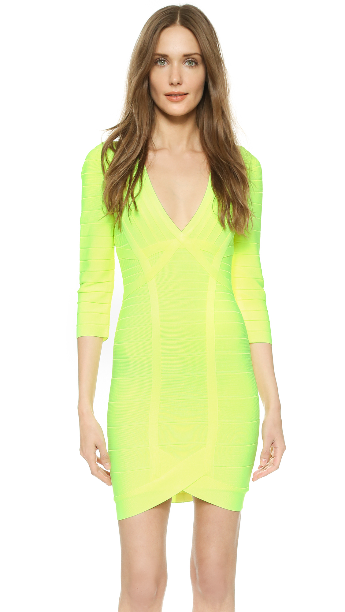 Lyst - Hervé Léger Nathalia Dress - Neon Yellow in Yellow