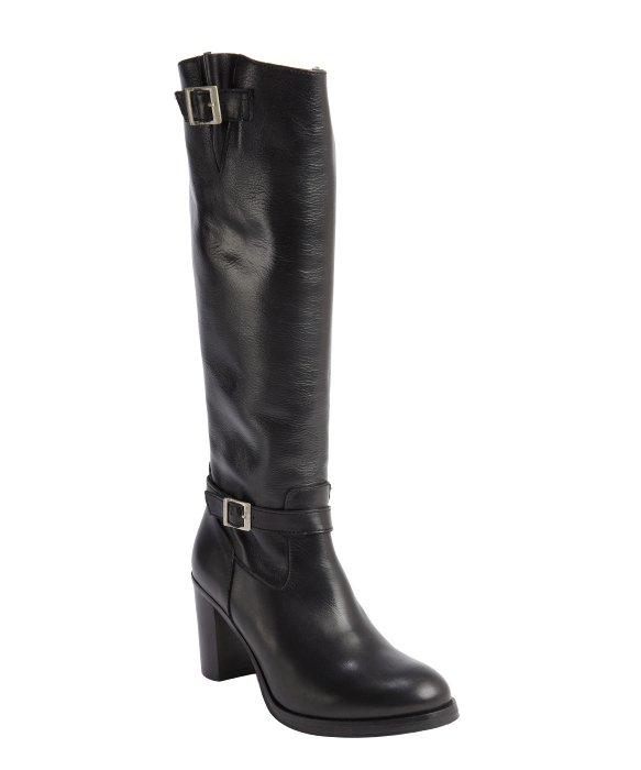 charles david black leather zip closure jordana heel