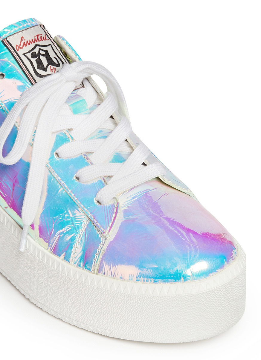 a466e5d5d691be Lyst - Ash  Cult  Holographic Leather Flatform Sneakers
