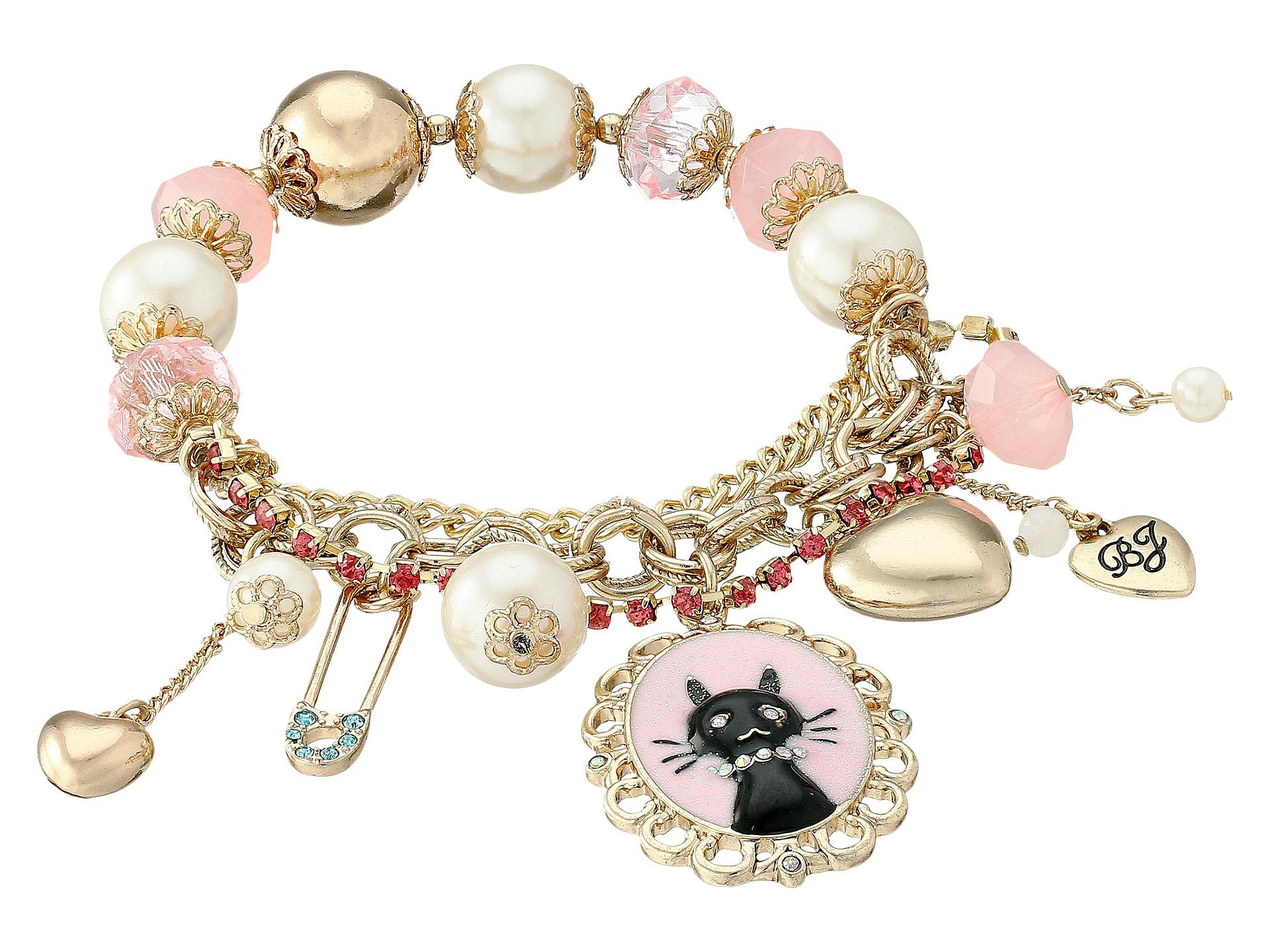 Lyst - Betsey Johnson Boxed Black Cat Charm Bracelet in Pink