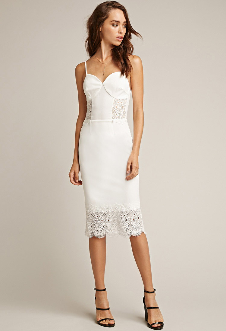 Forever 21 Tiger Mist One Love Lace Midi Dress in White | Lyst