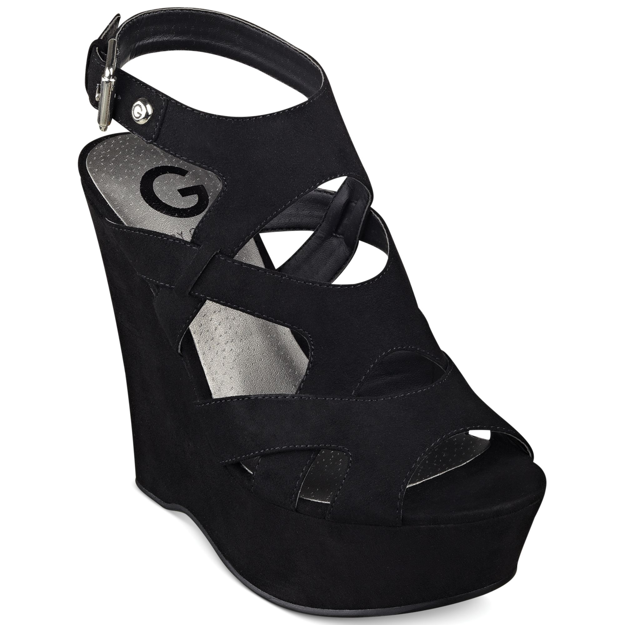 8d546e9e5b8764 Lyst - G by Guess Womens Shoes Hizza Platform Wedge Sandals in Black