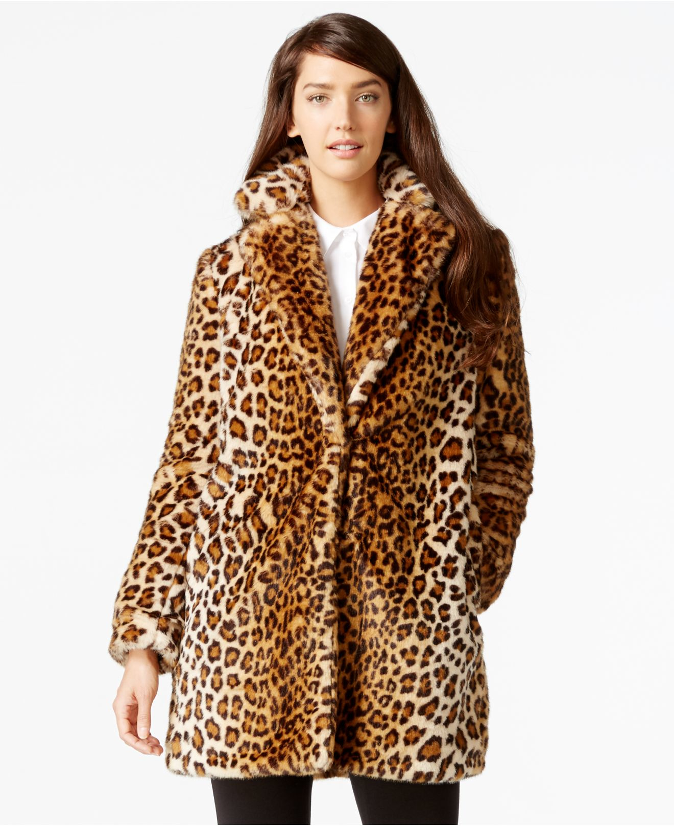 Calvin klein Leopard-print Faux-fur Coat | Lyst