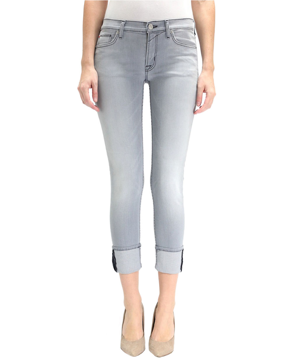 hudson muse skinny cropped jeans in gray grey lyst. Black Bedroom Furniture Sets. Home Design Ideas