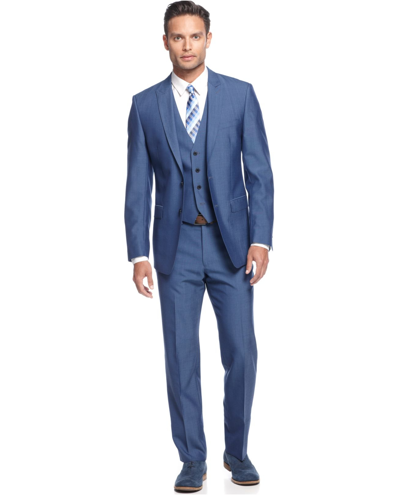 Calvin klein Medium Blue Vested Slim X Fit Suit in Blue for Men | Lyst