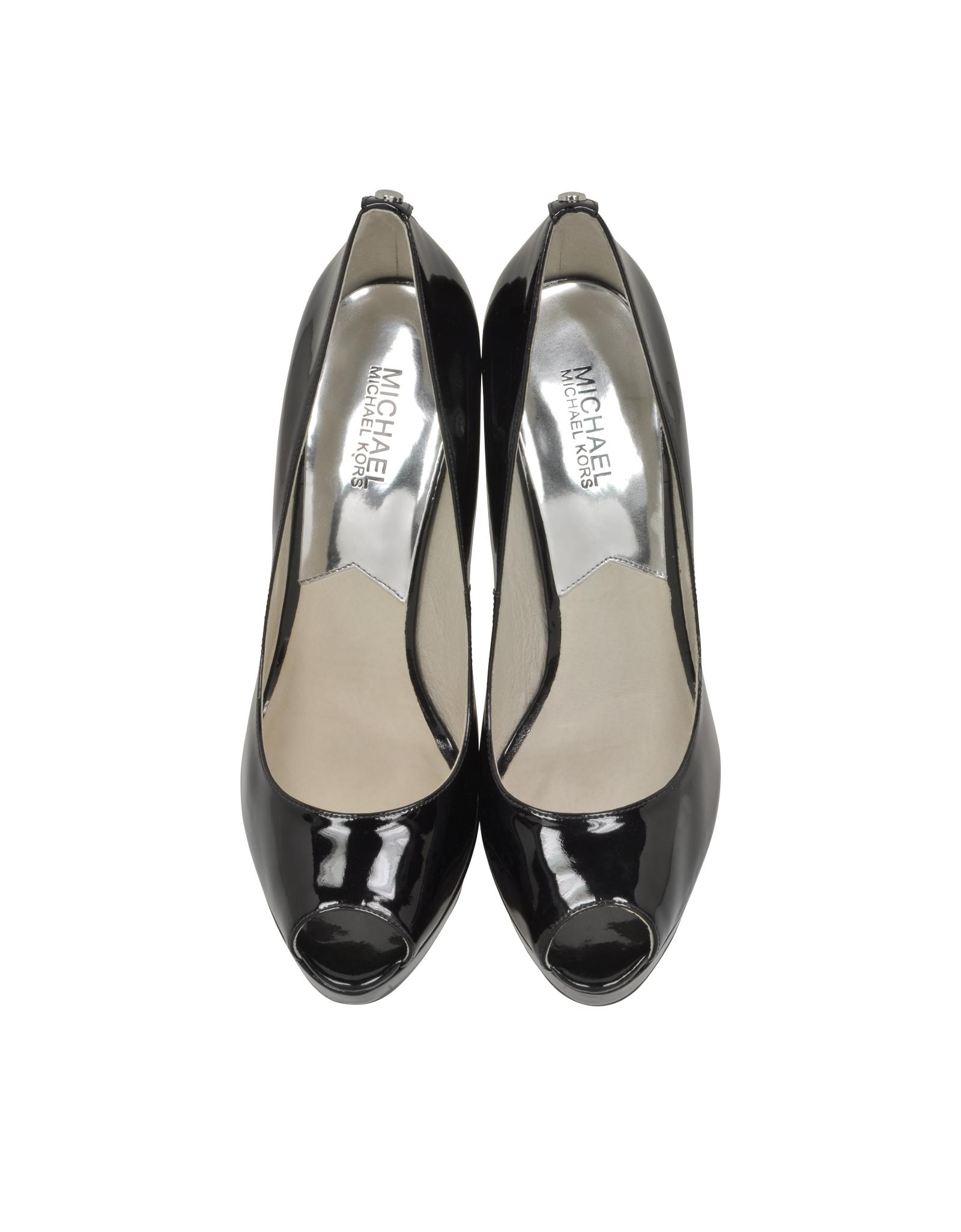 michael kors york black patent leather platform shoe in