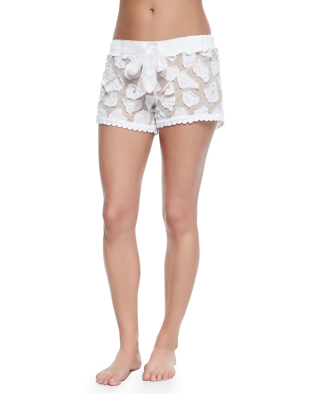 e939f475a3 Lyst - Letarte Crochet Coverup Shorts in White