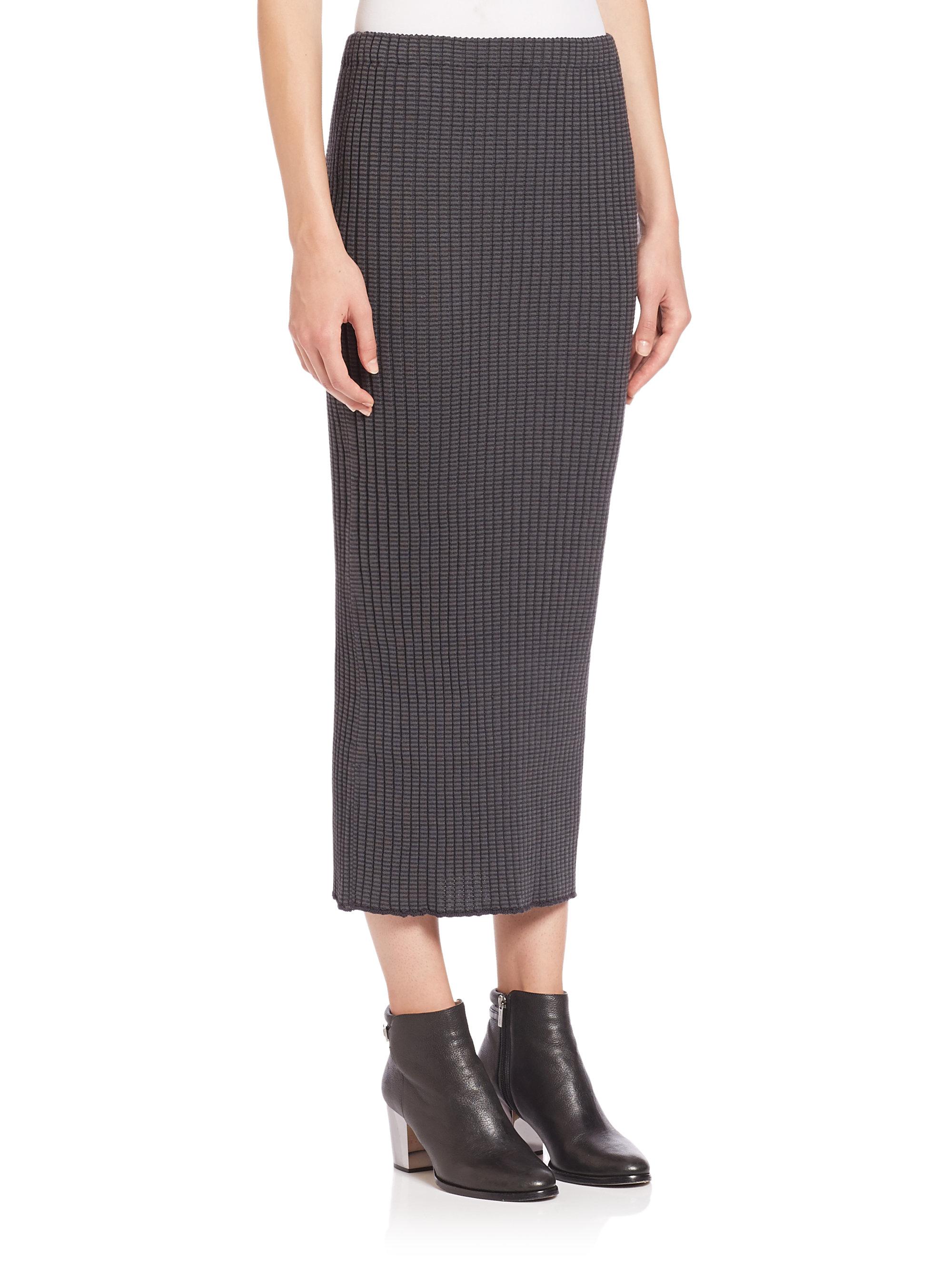 Wes gordon Rib-knit Pencil Skirt in Gray | Lyst
