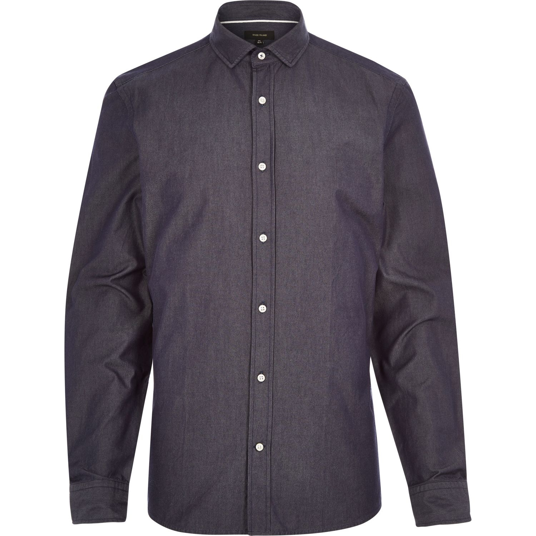River Island Navy Dark Denim Long Sleeve Shirt In Blue For