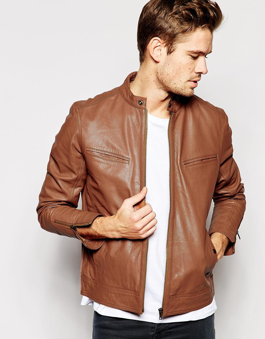 Asos Leather Biker Jacket in Brown for Men | Lyst