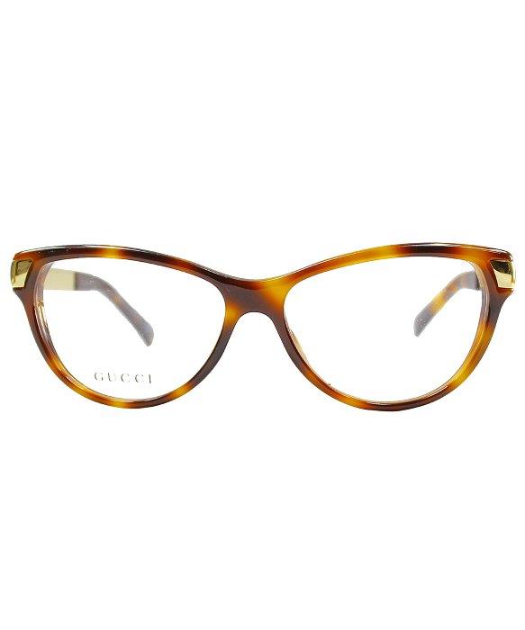gucci gg 3652 crx gold cat eye eyeglasses in brown