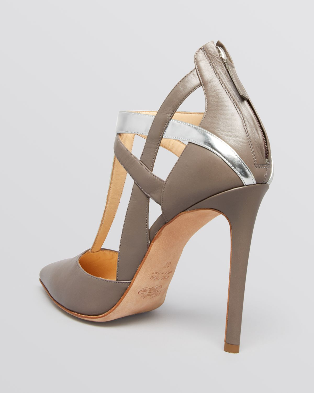 alejandro ingelmo pointed toe t strap pumps tara haze high heel in silver lyst. Black Bedroom Furniture Sets. Home Design Ideas