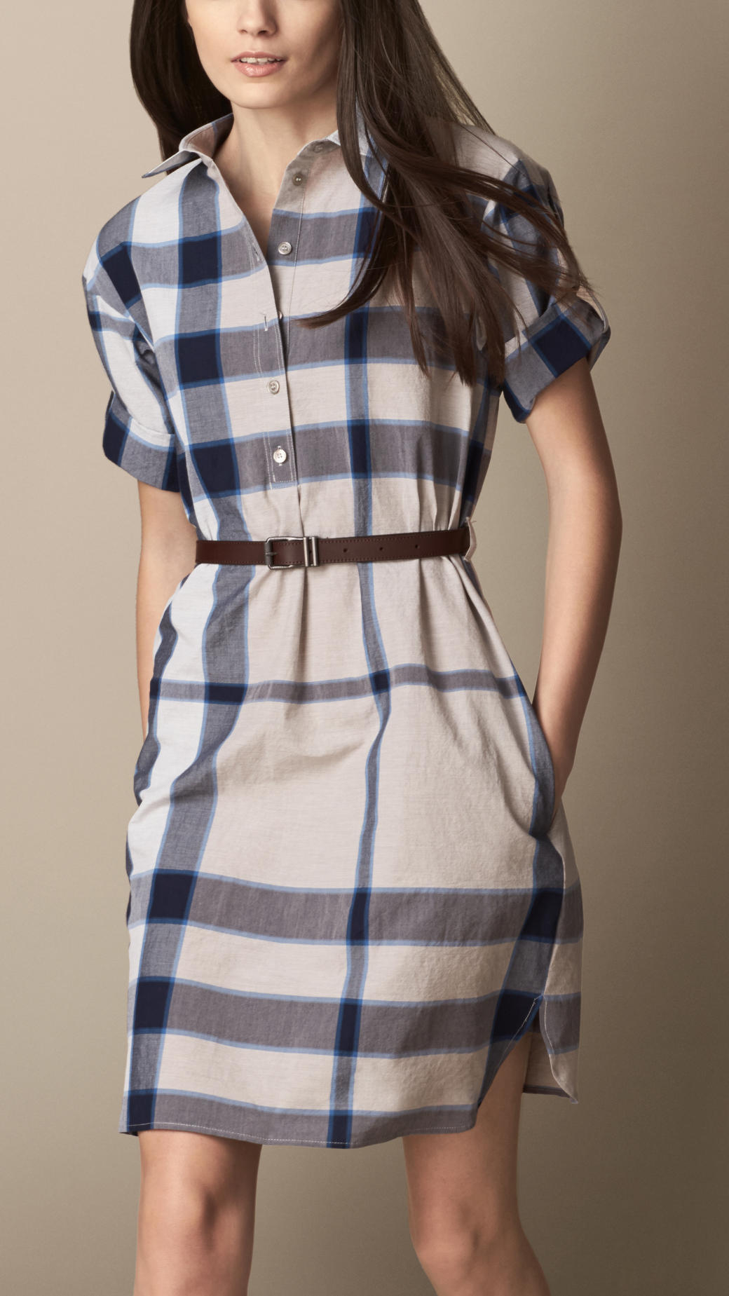 Lyst Burberry Check Shirt Dress With Leather Belt In Blue