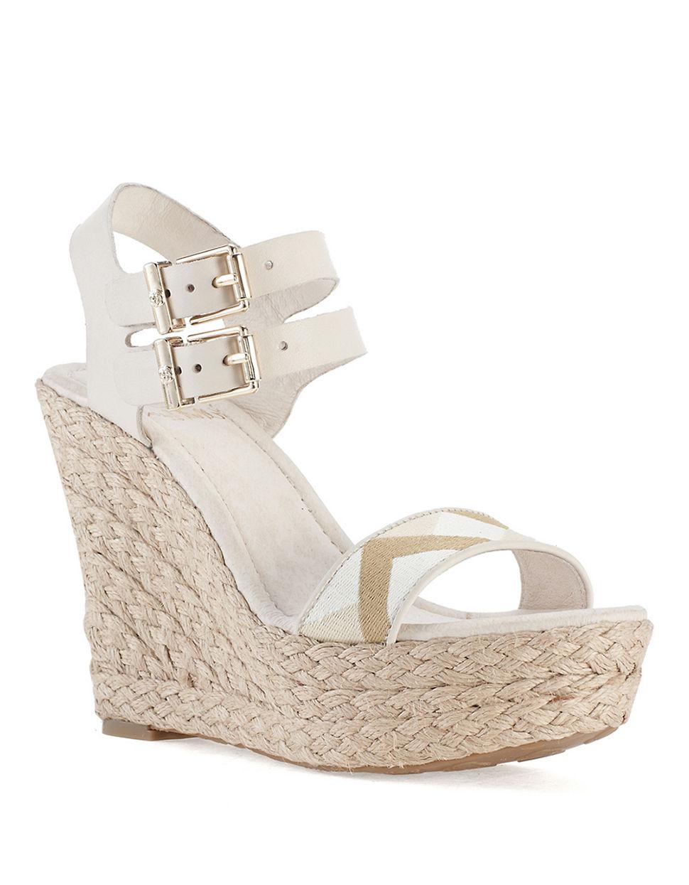 elliott lucca giulia platform wedge sandals in white lyst