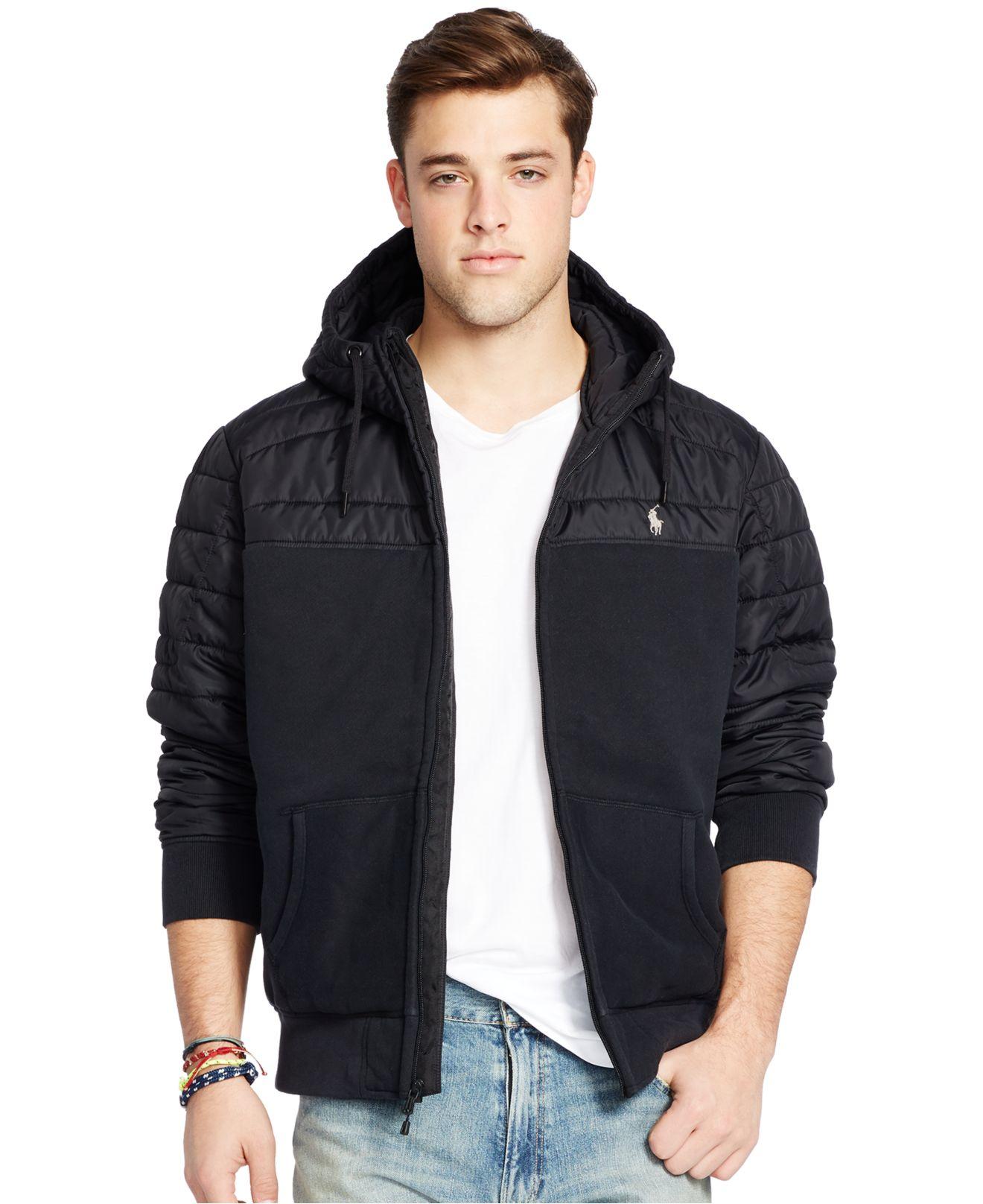 polo ralph lauren quilted fleece hoodie in black for men lyst. Black Bedroom Furniture Sets. Home Design Ideas