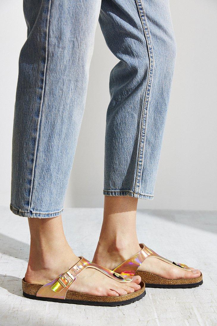 Lyst - Birkenstock Gizeh Birko-flor Mirror Sandal in Pink eabb8ce3a