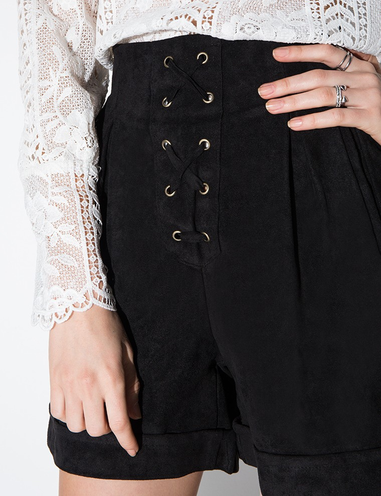 Pixie market Black Lace Up Suede High Waisted Shorts in Black   Lyst