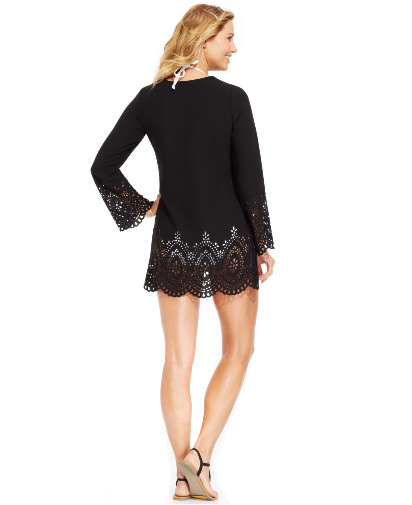 1c3881ccfe Lyst - Kenneth Cole Reaction Laser-cutout Tunic Cover-up in Black