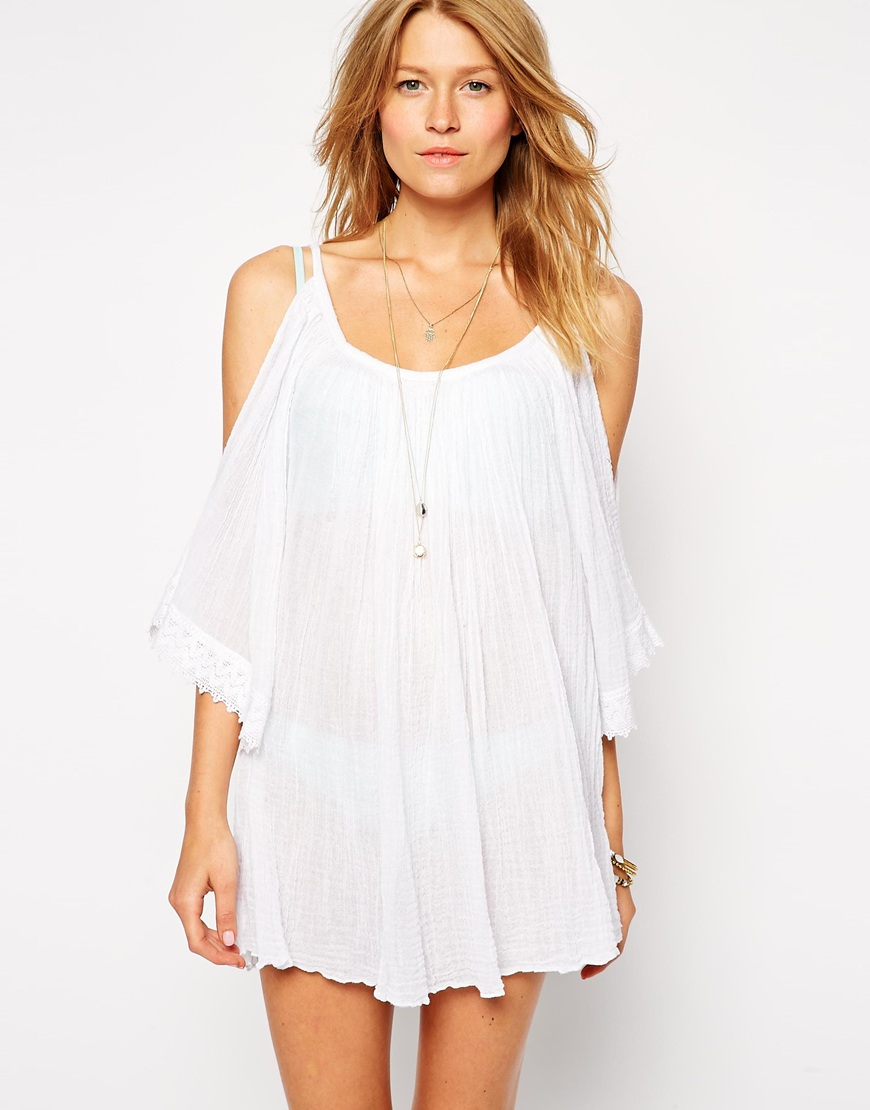 576c6d14805f5 Lyst - ASOS Cheesecloth Cold Shoulder Beach Tunic in White