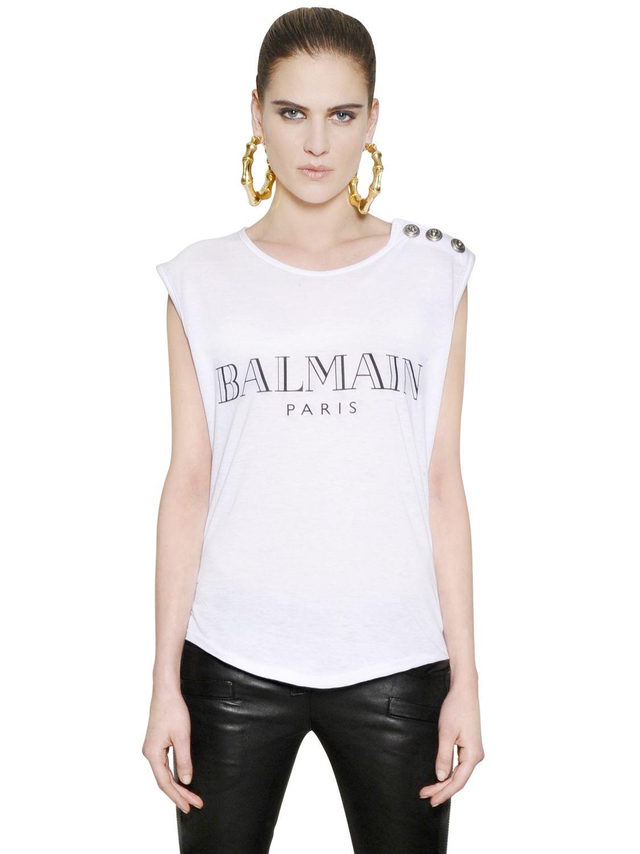 Balmain logo printed cotton tshirt in white lyst for Balmain white logo t shirt